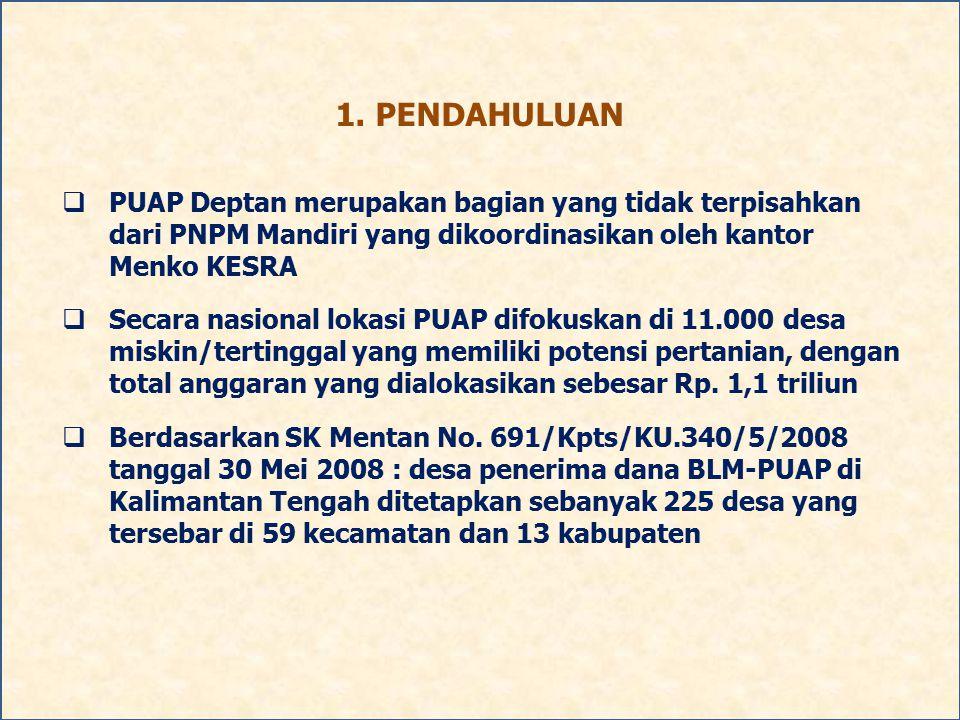1. PENDAHULUAN  PUAP Deptan merupakan bagian yang tidak terpisahkan dari PNPM Mandiri yang dikoordinasikan oleh kantor Menko KESRA  Secara nasional