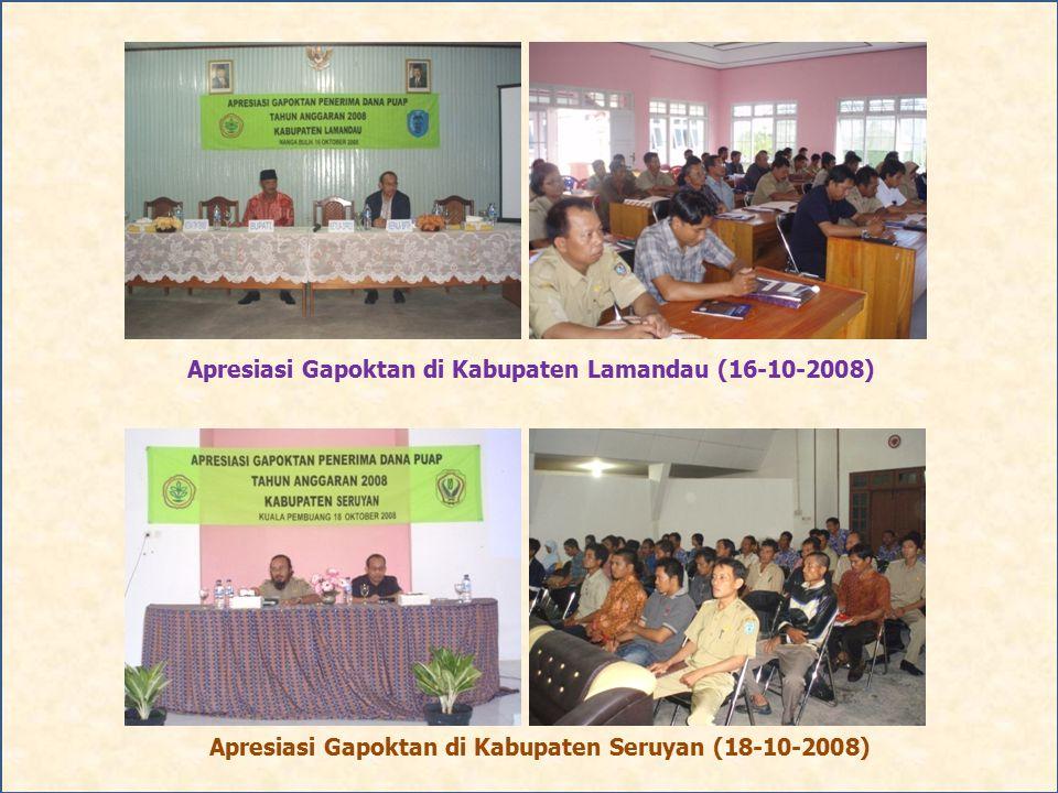 Apresiasi Gapoktan di Kabupaten Lamandau (16-10-2008) Apresiasi Gapoktan di Kabupaten Seruyan (18-10-2008)