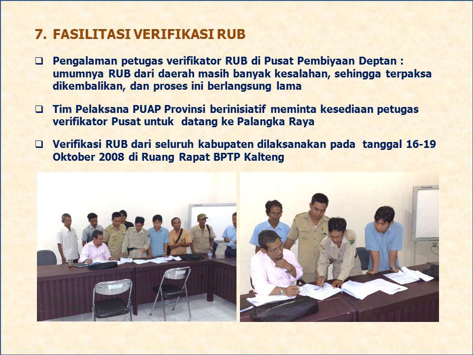 7.FASILITASI VERIFIKASI RUB  Pengalaman petugas verifikator RUB di Pusat Pembiyaan Deptan : umumnya RUB dari daerah masih banyak kesalahan, sehingga
