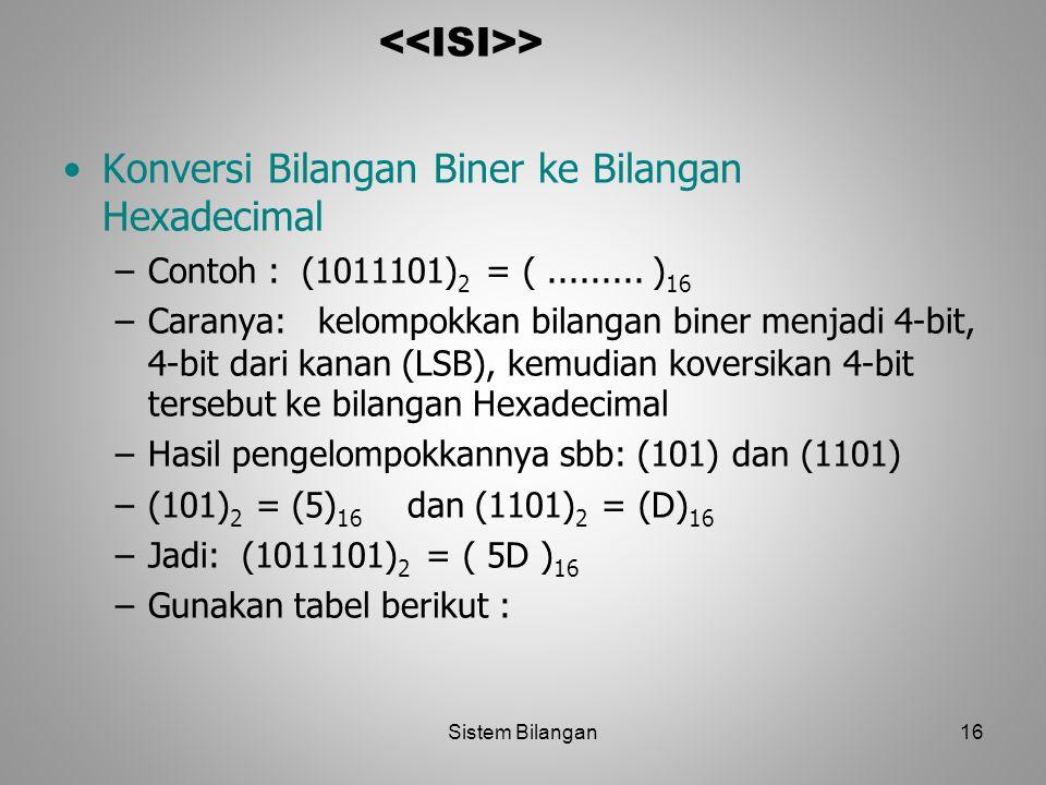 16 > Konversi Bilangan Biner ke Bilangan Hexadecimal –Contoh : (1011101) 2 = (......... ) 16 –Caranya: kelompokkan bilangan biner menjadi 4-bit, 4-bit