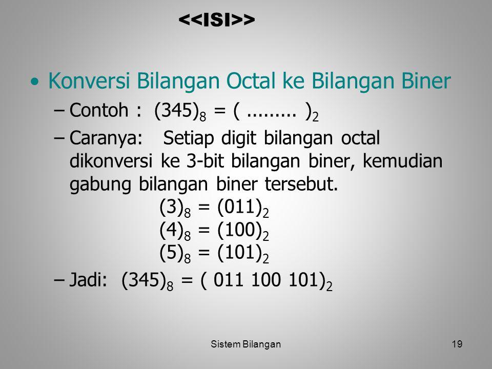 19 > Konversi Bilangan Octal ke Bilangan Biner –Contoh : (345) 8 = (......... ) 2 –Caranya: Setiap digit bilangan octal dikonversi ke 3-bit bilangan b