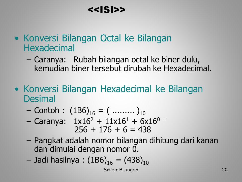 20 > Konversi Bilangan Octal ke Bilangan Hexadecimal –Caranya: Rubah bilangan octal ke biner dulu, kemudian biner tersebut dirubah ke Hexadecimal. Kon