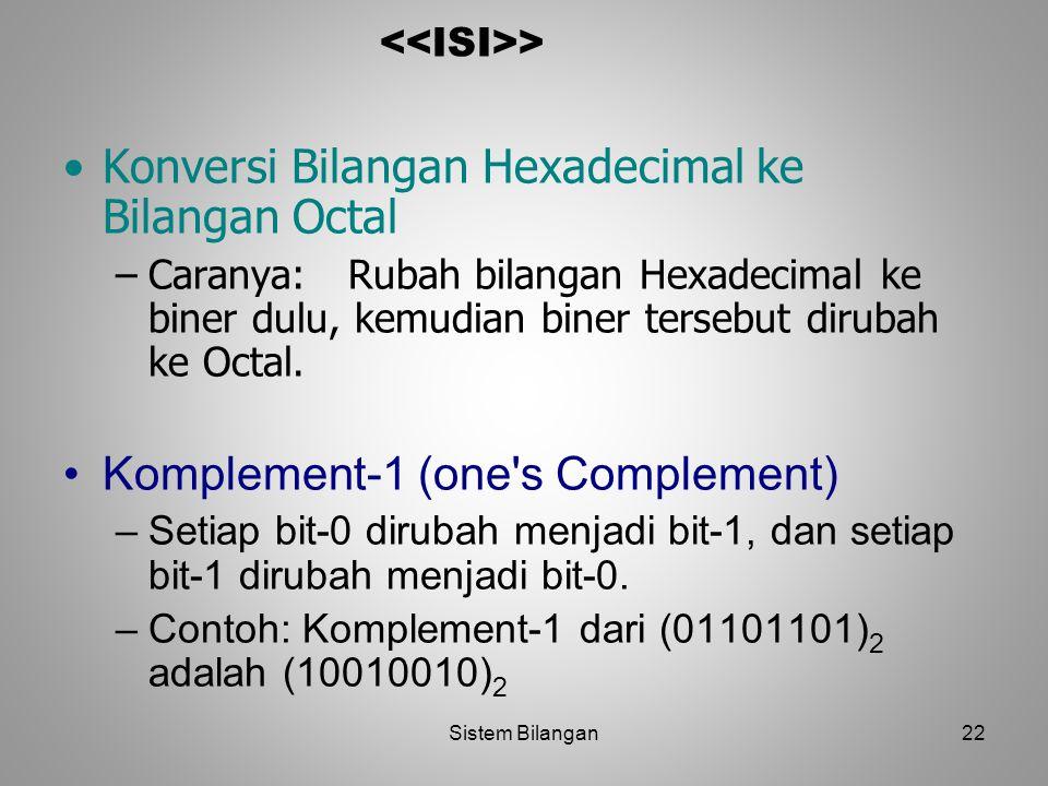22 > Konversi Bilangan Hexadecimal ke Bilangan Octal –Caranya: Rubah bilangan Hexadecimal ke biner dulu, kemudian biner tersebut dirubah ke Octal. Kom