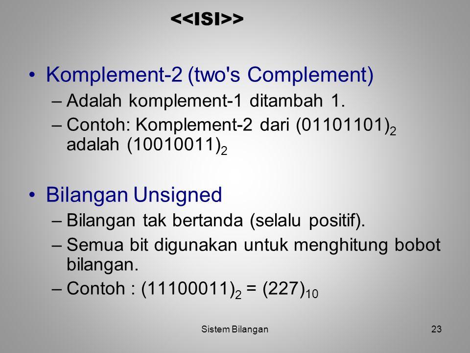 23 > Komplement-2 (two's Complement) –Adalah komplement-1 ditambah 1. –Contoh: Komplement-2 dari (01101101) 2 adalah (10010011) 2 Bilangan Unsigned –B