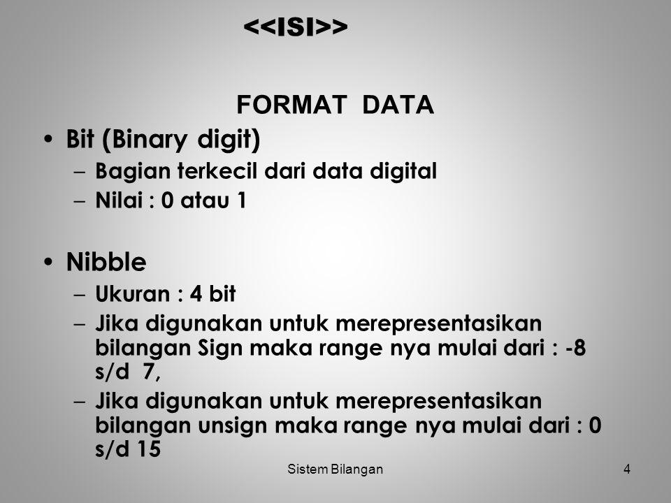 4 > FORMAT DATA Bit (Binary digit) – Bagian terkecil dari data digital – Nilai : 0 atau 1 Nibble – Ukuran : 4 bit – Jika digunakan untuk merepresentas