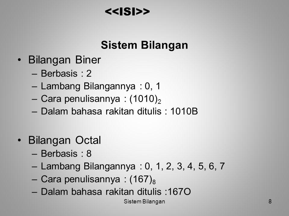 8 > Sistem Bilangan Bilangan Biner –Berbasis : 2 –Lambang Bilangannya : 0, 1 –Cara penulisannya : (1010) 2 –Dalam bahasa rakitan ditulis : 1010B Bilan