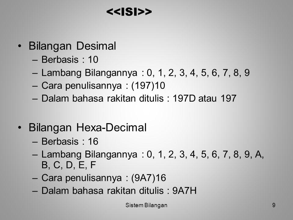 9 > Bilangan Desimal –Berbasis : 10 –Lambang Bilangannya : 0, 1, 2, 3, 4, 5, 6, 7, 8, 9 –Cara penulisannya : (197)10 –Dalam bahasa rakitan ditulis : 1