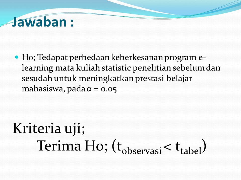 Jawaban : Ho; Tedapat perbedaan keberkesanan program e- learning mata kuliah statistic penelitian sebelum dan sesudah untuk meningkatkan prestasi belajar mahasiswa, pada α = 0.05 Kriteria uji; Terima Ho; (t observasi < t tabel )
