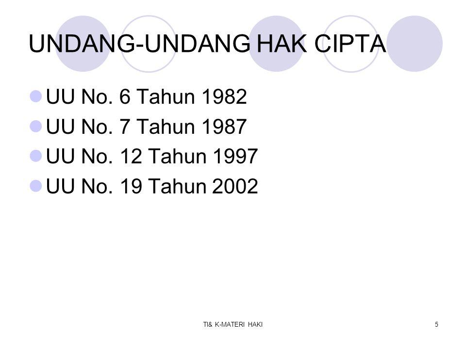 TI& K-MATERI HAKI6 UU Hak Cipta Nomor 19 Tahun 2002 Terdiri dari 15 Bab dan 78 Pasal.