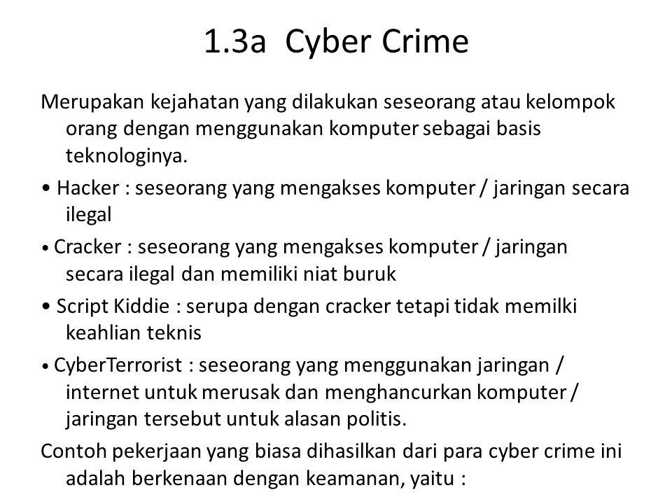 1.3a Cyber Crime Merupakan kejahatan yang dilakukan seseorang atau kelompok orang dengan menggunakan komputer sebagai basis teknologinya. Hacker : ses