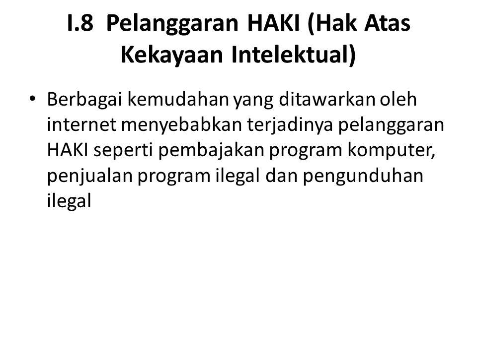 I.8 Pelanggaran HAKI (Hak Atas Kekayaan Intelektual) Berbagai kemudahan yang ditawarkan oleh internet menyebabkan terjadinya pelanggaran HAKI seperti