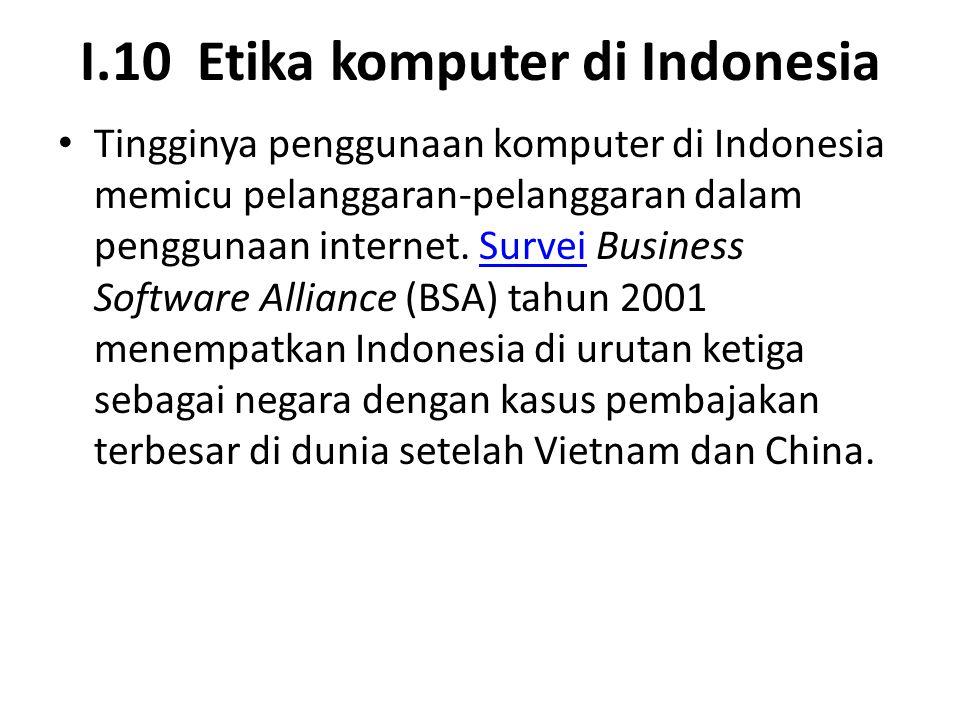 I.10 Etika komputer di Indonesia Tingginya penggunaan komputer di Indonesia memicu pelanggaran-pelanggaran dalam penggunaan internet. Survei Business