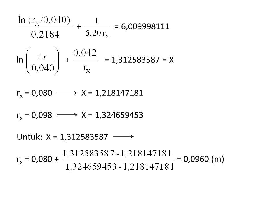 + = 6,009998111 ln + = 1,312583587 = X r x = 0,080 X = 1,218147181 r x = 0,098 X = 1,324659453 Untuk: X = 1,312583587 r x = 0,080 + = 0,0960 (m)