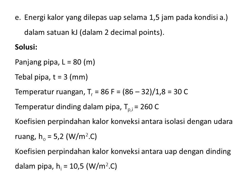 e.Energi kalor yang dilepas uap selama 1,5 jam pada kondisi a.) dalam satuan kJ (dalam 2 decimal points). Solusi: Panjang pipa, L = 80 (m) Tebal pipa,