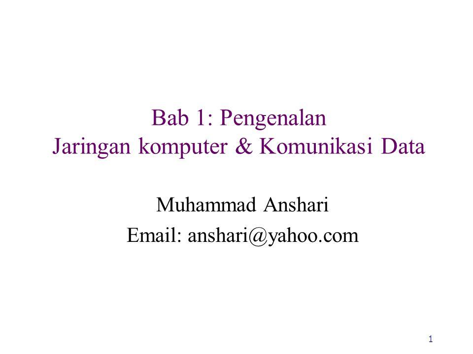1 Bab 1: Pengenalan Jaringan komputer & Komunikasi Data Muhammad Anshari Email: anshari@yahoo.com