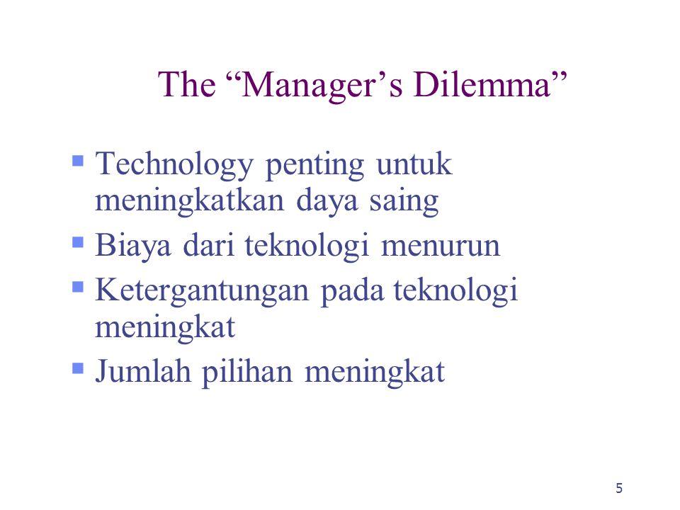5 The Manager's Dilemma  Technology penting untuk meningkatkan daya saing  Biaya dari teknologi menurun  Ketergantungan pada teknologi meningkat  Jumlah pilihan meningkat
