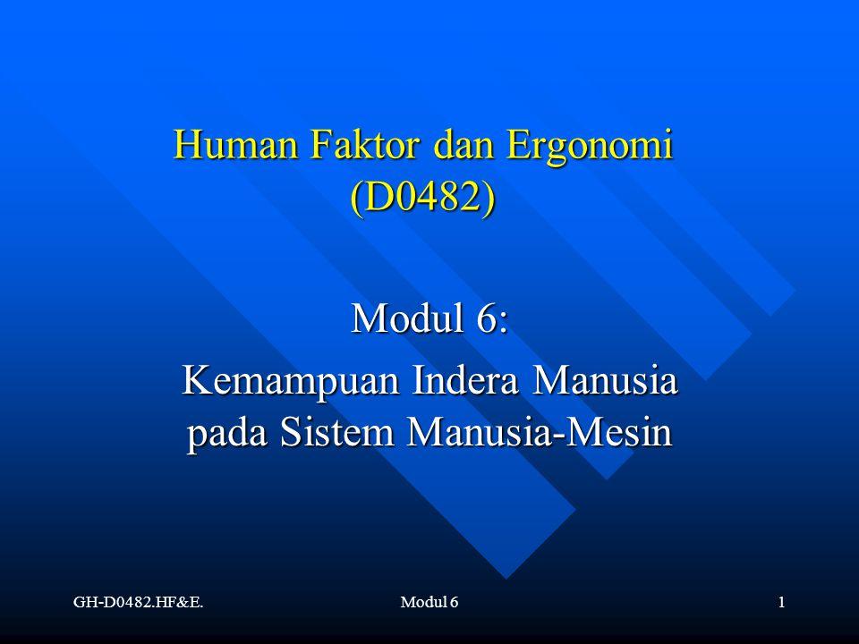 GH-D0482.HF&E.Modul 62 Pendahuluan Penyesuaian kerja pada manusia, berarti penyesuaian mesin dan lingkungan kerja terhadap manusia.