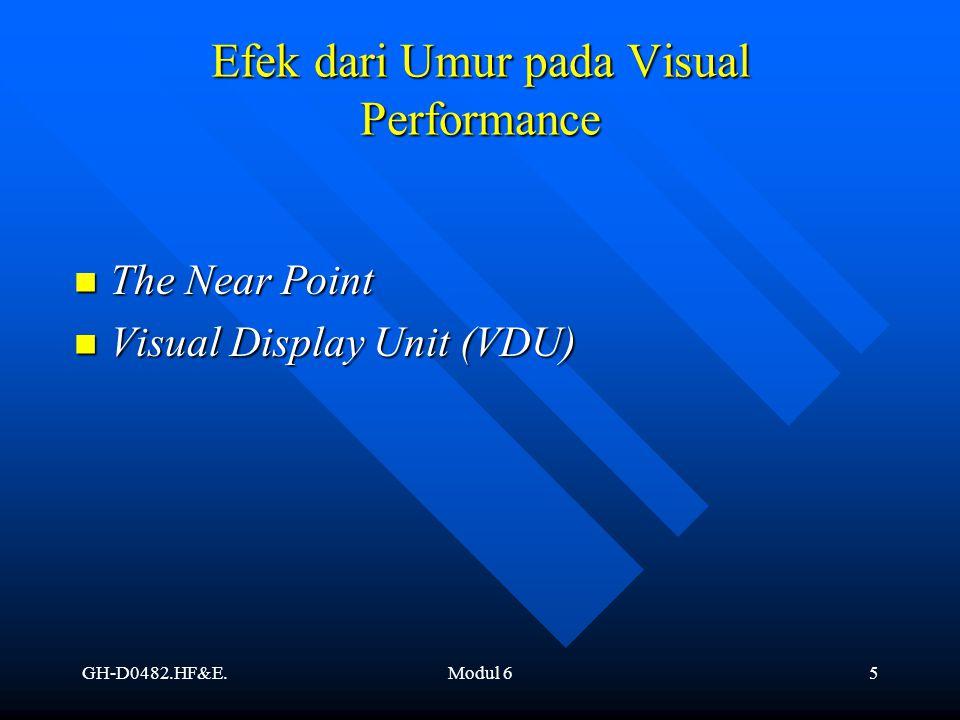 GH-D0482.HF&E.Modul 66 Adaptasi pada Perubahan Tingkat Cahaya Distribusi Rods and Cones Distribusi Rods and Cones Ketajaman penglihatan diatas retina Ketajaman penglihatan diatas retina (Eko Nurmianto, hal 219, Gambar 11.2) (Eko Nurmianto, hal 219, Gambar 11.2)
