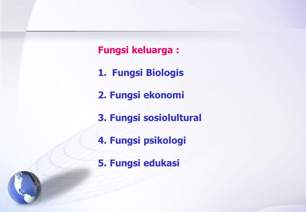 Fungsi keluarga : 1.Fungsi Biologis 2.Fungsi ekonomi 3.