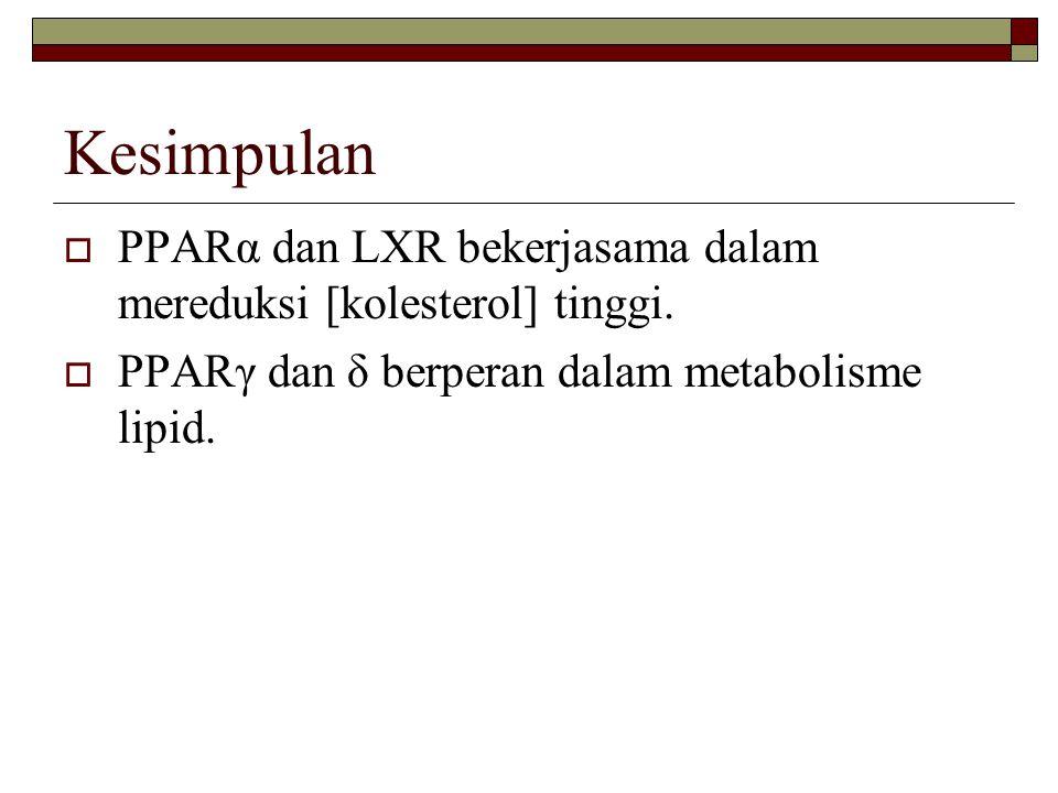 Kesimpulan  PPARα dan LXR bekerjasama dalam mereduksi [kolesterol] tinggi.  PPARγ dan δ berperan dalam metabolisme lipid.
