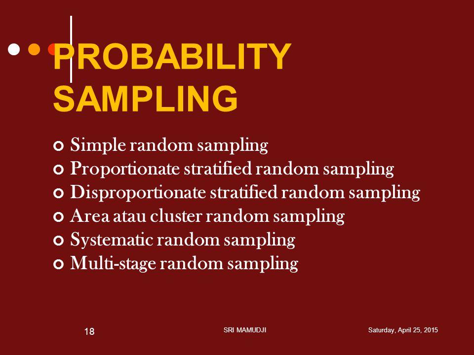 PROBABILITY SAMPLING Simple random sampling Proportionate stratified random sampling Disproportionate stratified random sampling Area atau cluster ran
