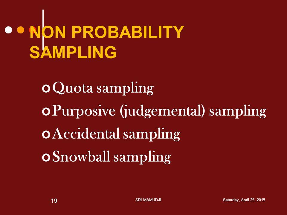 NON PROBABILITY SAMPLING Quota sampling Purposive (judgemental) sampling Accidental sampling Snowball sampling Saturday, April 25, 2015SRI MAMUDJI 19