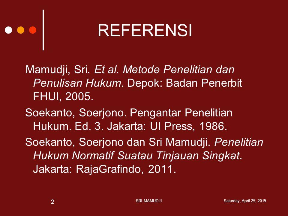 PERIHAL PENELITIAN HUKUM Saturday, April 25, 2015 SRI MAMUDJI 3 PENELITIAN HUKUM PROSES MENEMUKAN HUKUM DALAM TINDAKAN DAN HUBUNGAN MANUSIA YANG MENDASARKAN PADA KONSTRUKSI DATA YANG DILAKUKAN SECARA METODOLOGIS, SISTEMATIS, DAN KONSISTEN YURIDIS- NORMATIF YURIDIS-EMPIRIS/ YURIDIS-SOSIOLOGIS Bentuk
