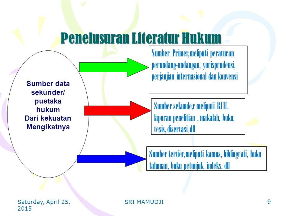 9 Penelusuran Literatur Hukum Penelusuran Literatur Hukum Sumber data sekunder/ pustaka hukum Dari kekuatan Mengikatnya Sumber Primer, meliputi peratu