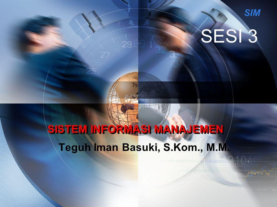SIM SISTEM INFORMASI MANAJEMEN Teguh Iman Basuki, S.Kom., M.M. SESI 3