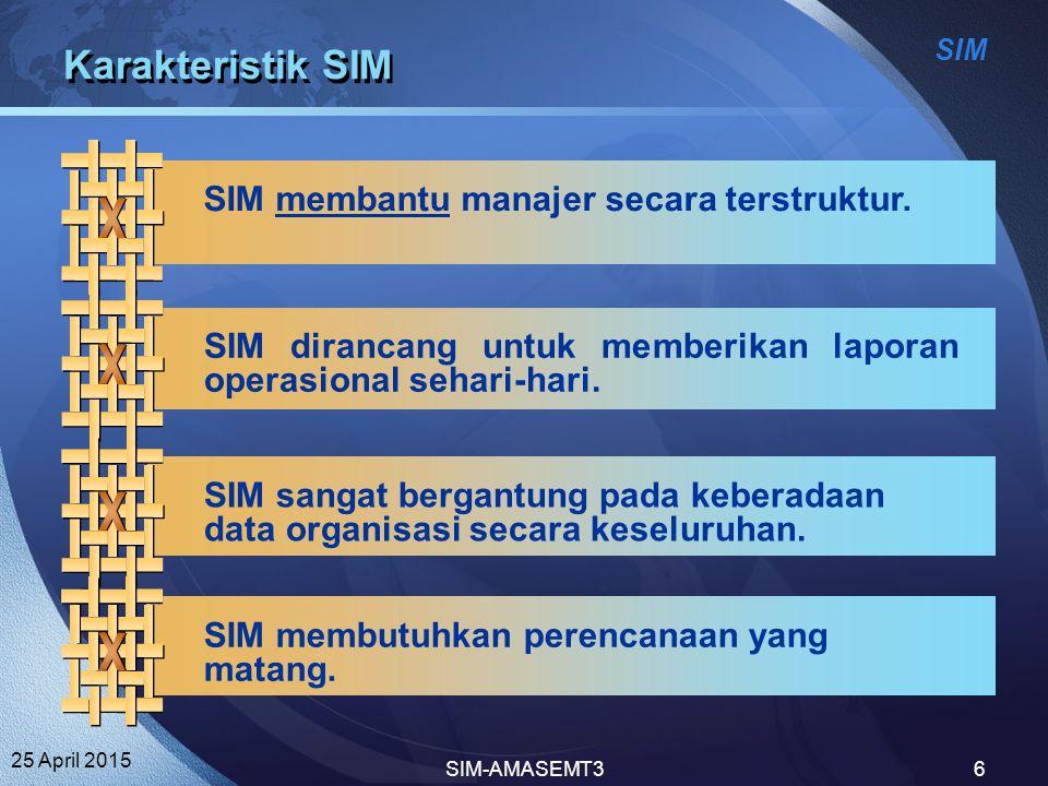 SIM 25 April 2015 SIM-AMASEMT36 Karakteristik SIM SIM membantu manajer secara terstruktur. SIM dirancang untuk memberikan laporan operasional sehari-h