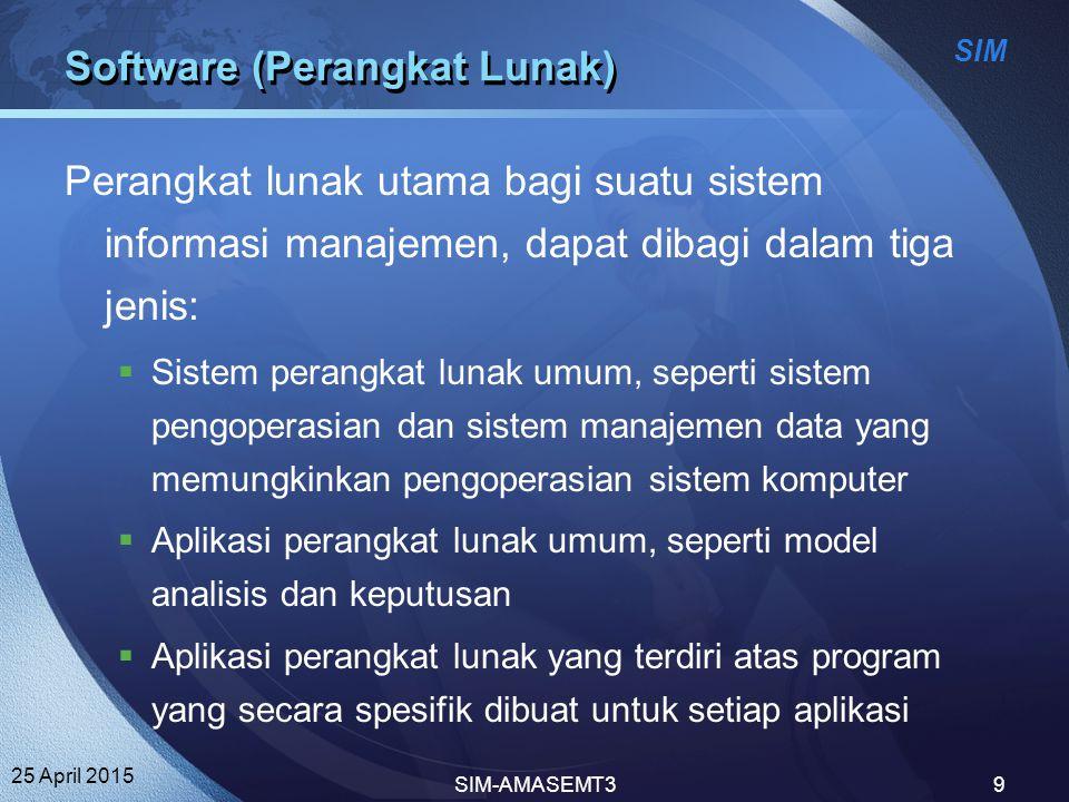 SIM 25 April 2015 SIM-AMASEMT39 Software (Perangkat Lunak) Perangkat lunak utama bagi suatu sistem informasi manajemen, dapat dibagi dalam tiga jenis: