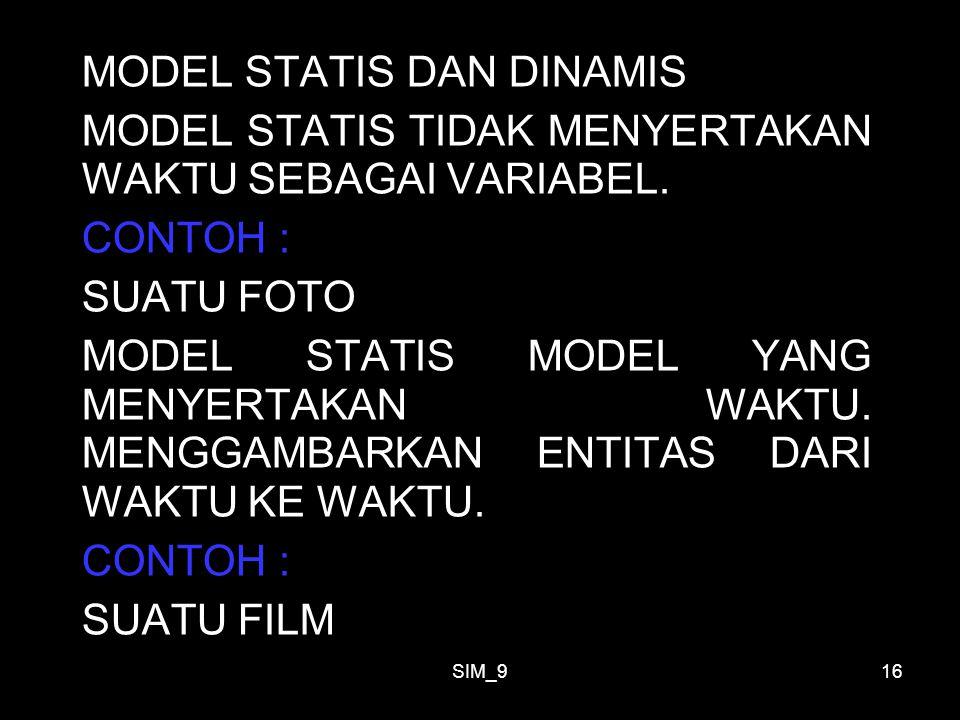 SIM_916 MODEL STATIS DAN DINAMIS MODEL STATIS TIDAK MENYERTAKAN WAKTU SEBAGAI VARIABEL. CONTOH : SUATU FOTO MODEL STATIS MODEL YANG MENYERTAKAN WAKTU.