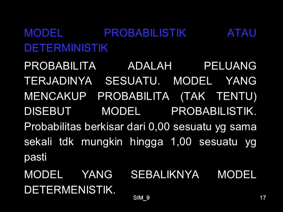SIM_917 MODEL PROBABILISTIK ATAU DETERMINISTIK PROBABILITA ADALAH PELUANG TERJADINYA SESUATU. MODEL YANG MENCAKUP PROBABILITA (TAK TENTU) DISEBUT MODE