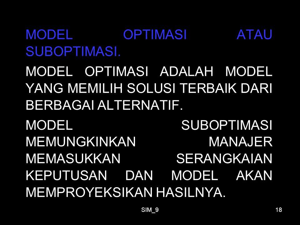 SIM_918 MODEL OPTIMASI ATAU SUBOPTIMASI. MODEL OPTIMASI ADALAH MODEL YANG MEMILIH SOLUSI TERBAIK DARI BERBAGAI ALTERNATIF. MODEL SUBOPTIMASI MEMUNGKIN