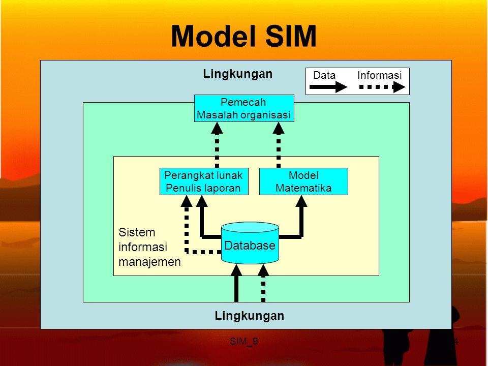 SIM_94 Model SIM Database Perangkat lunak Penulis laporan Model Matematika Sistem informasi manajemen Lingkungan Pemecah Masalah organisasi Lingkungan Data Informasi