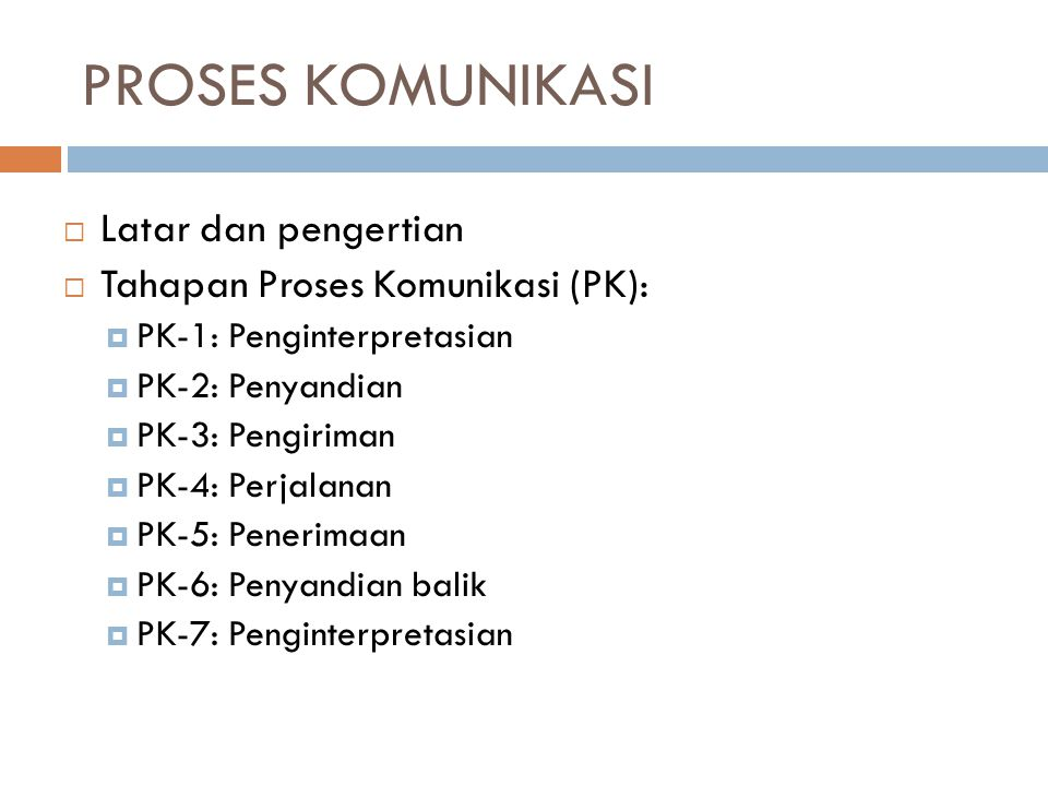 PROSES KOMUNIKASI  Latar dan pengertian  Tahapan Proses Komunikasi (PK):  PK-1: Penginterpretasian  PK-2: Penyandian  PK-3: Pengiriman  PK-4: Perjalanan  PK-5: Penerimaan  PK-6: Penyandian balik  PK-7: Penginterpretasian