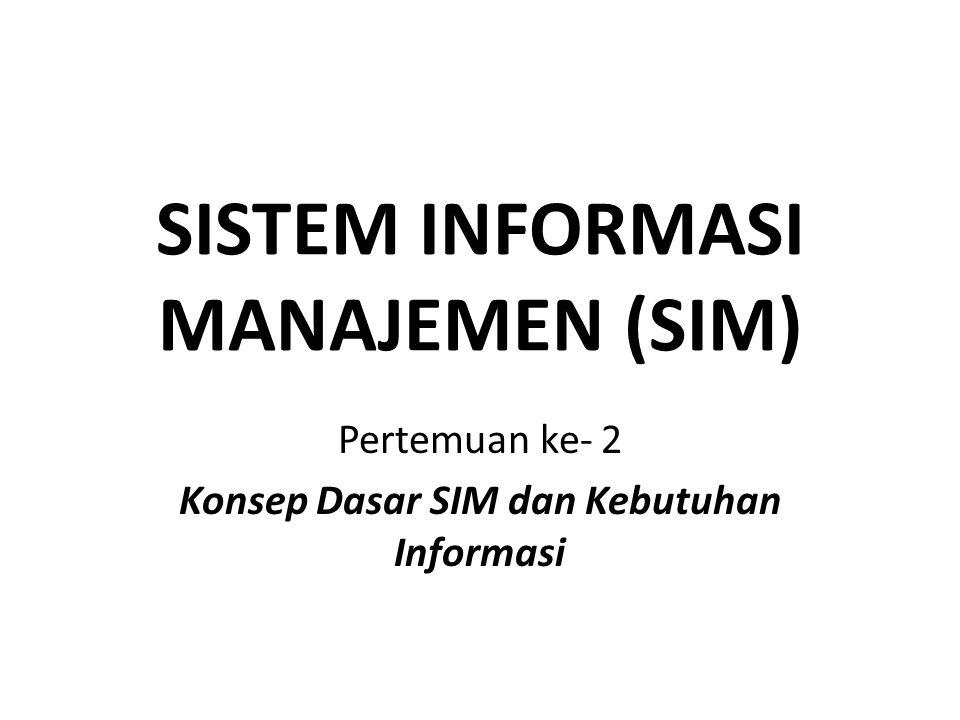 SISTEM INFORMASI MANAJEMEN (SIM) Pertemuan ke- 2 Konsep Dasar SIM dan Kebutuhan Informasi