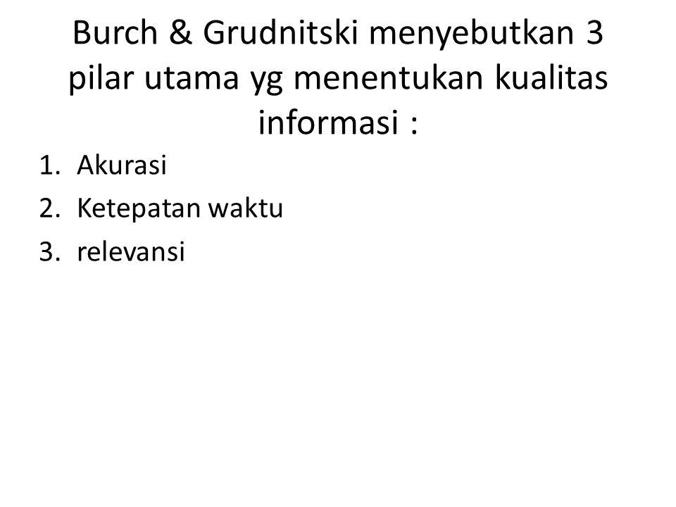 Burch & Grudnitski menyebutkan 3 pilar utama yg menentukan kualitas informasi : 1.Akurasi 2.Ketepatan waktu 3.relevansi