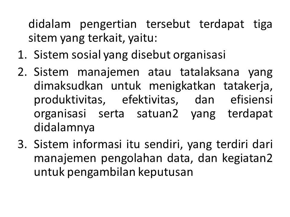 didalam pengertian tersebut terdapat tiga sitem yang terkait, yaitu: 1.Sistem sosial yang disebut organisasi 2.Sistem manajemen atau tatalaksana yang
