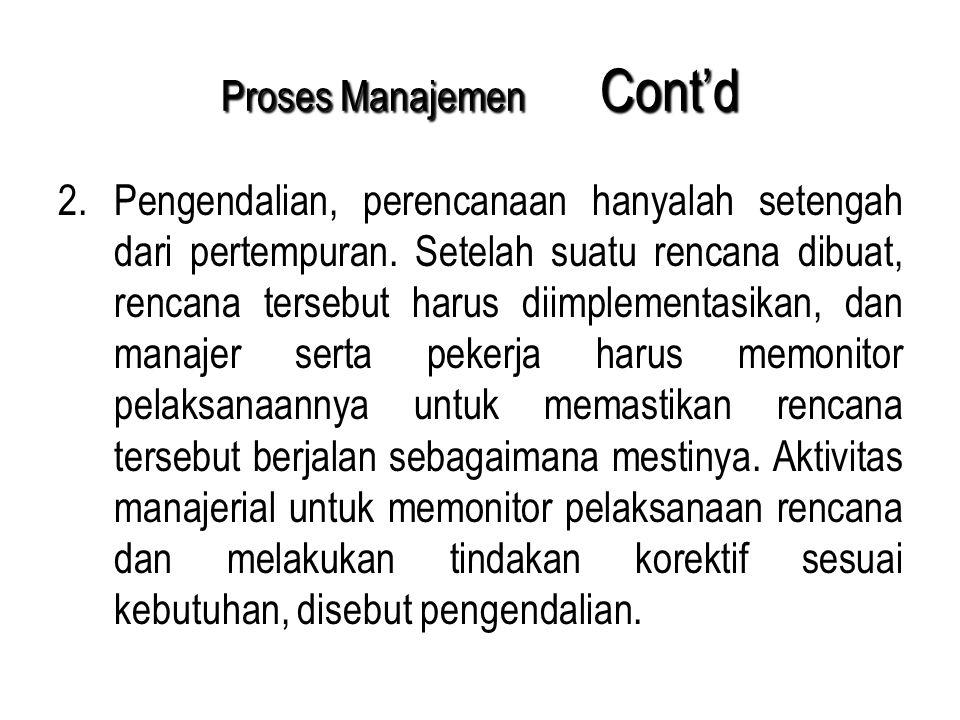 Proses Manajemen Cont'd 2.Pengendalian, perencanaan hanyalah setengah dari pertempuran. Setelah suatu rencana dibuat, rencana tersebut harus diimpleme