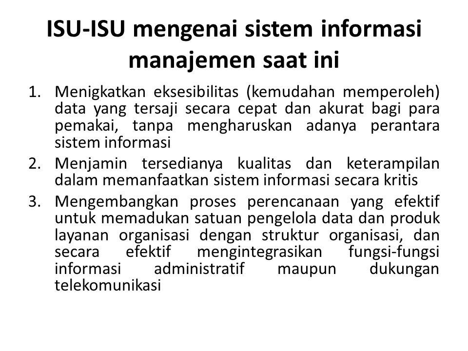 ISU-ISU mengenai sistem informasi manajemen saat ini 1.Menigkatkan eksesibilitas (kemudahan memperoleh) data yang tersaji secara cepat dan akurat bagi
