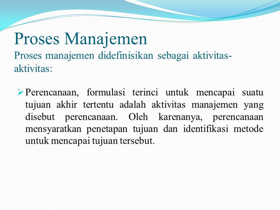 Proses Manajemen (Continued) Proses manajemen didefinisikan sebagai aktivitas- aktivitas:  Pengendalian, perencanaan hanyalah setengah dari pertempuran.