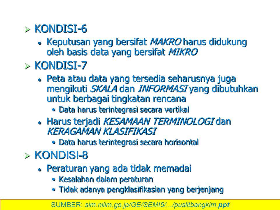  KONDISI-6 Keputusan yang bersifat MAKRO harus didukung oleh basis data yang bersifat MIKRO Keputusan yang bersifat MAKRO harus didukung oleh basis d