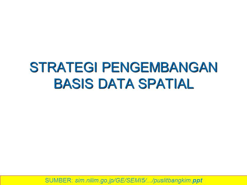 STRATEGI PENGEMBANGAN BASIS DATA SPATIAL SUMBER: sim.nilim.go.jp/GE/SEMI5/.../puslitbangkim.ppt