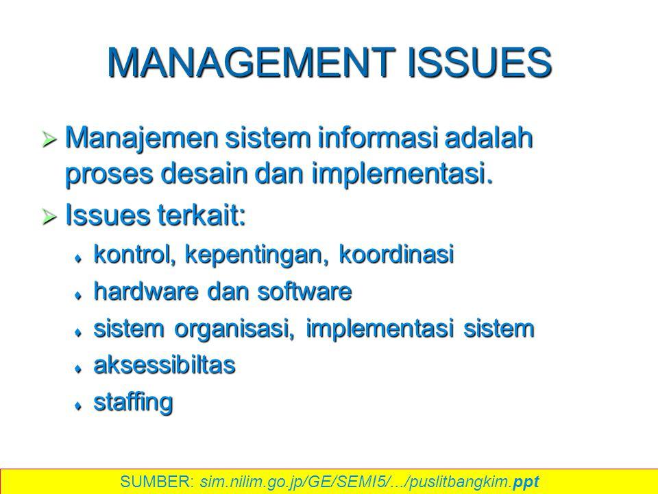MANAGEMENT ISSUES  Manajemen sistem informasi adalah proses desain dan implementasi.  Issues terkait:  kontrol, kepentingan, koordinasi  hardware