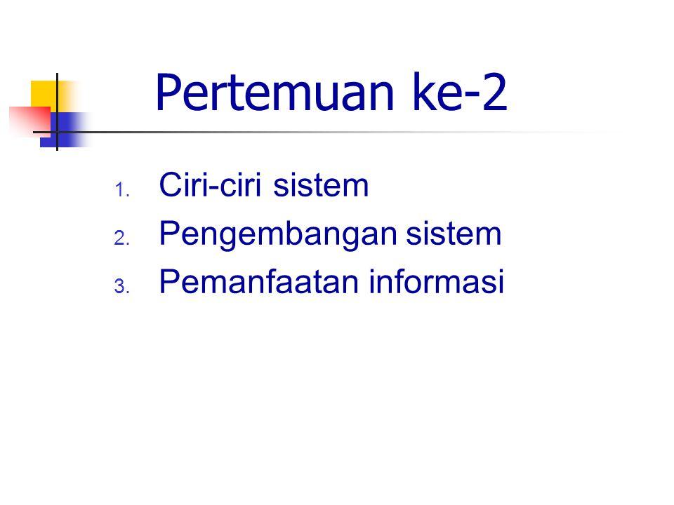 Pertemuan ke-2 1. Ciri-ciri sistem 2. Pengembangan sistem 3. Pemanfaatan informasi