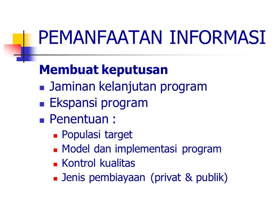 PEMANFAATAN INFORMASI Membuat keputusan Jaminan kelanjutan program Ekspansi program Penentuan : Populasi target Model dan implementasi program Kontrol kualitas Jenis pembiayaan (privat & publik)