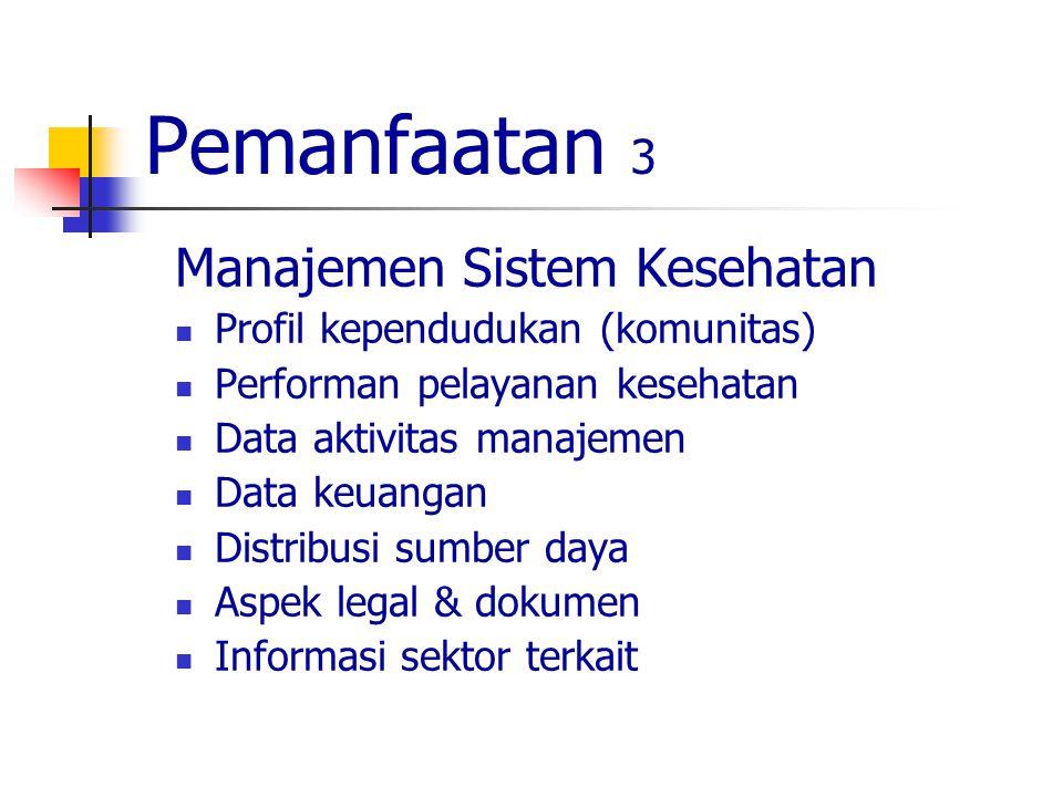 Pemanfaatan 3 Manajemen Sistem Kesehatan Profil kependudukan (komunitas) Performan pelayanan kesehatan Data aktivitas manajemen Data keuangan Distribusi sumber daya Aspek legal & dokumen Informasi sektor terkait