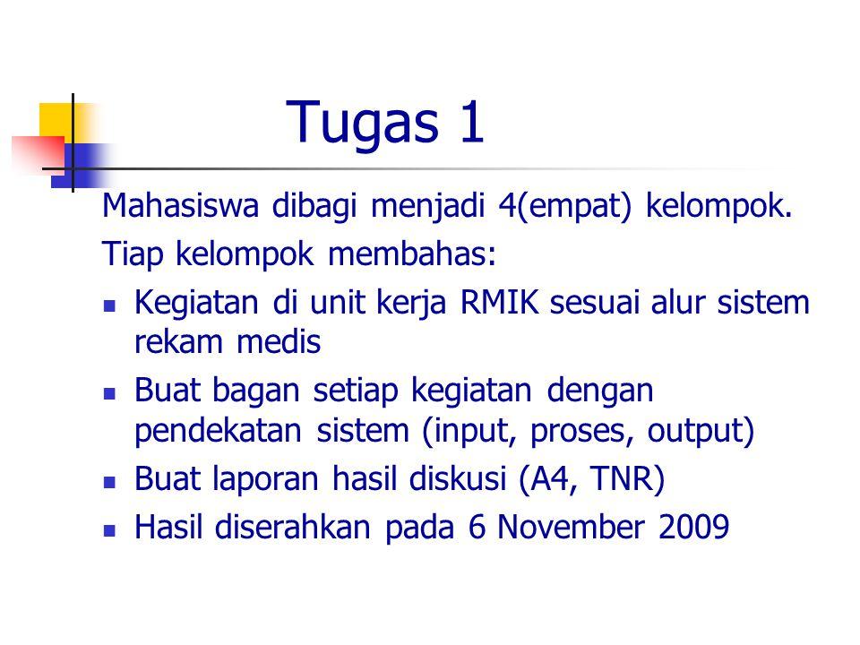 Tugas 1 Mahasiswa dibagi menjadi 4(empat) kelompok.