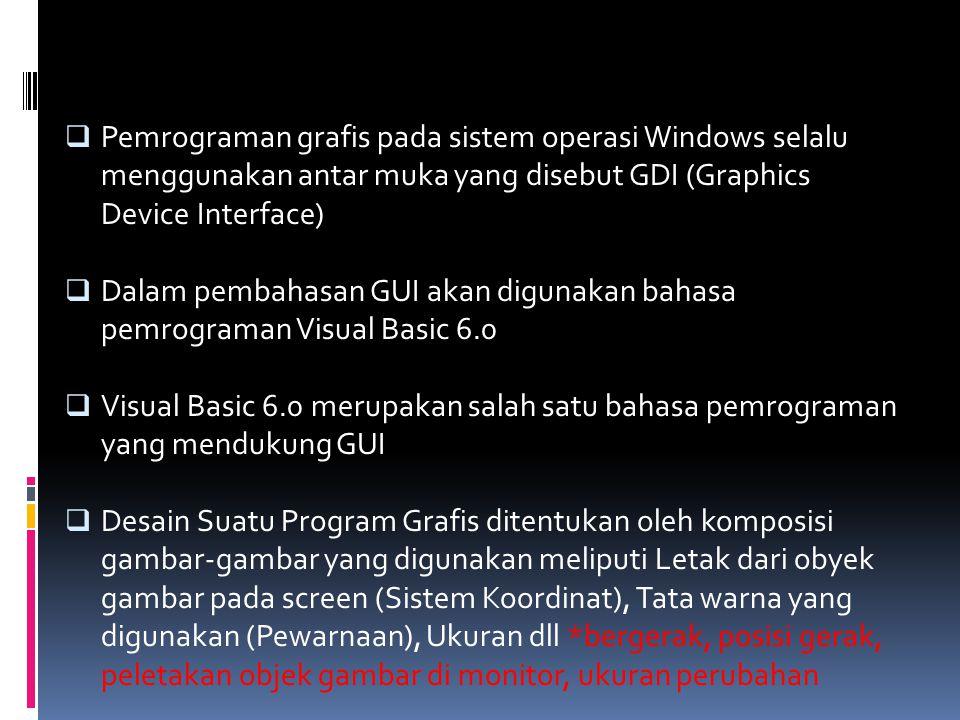  Pemrograman grafis pada sistem operasi Windows selalu menggunakan antar muka yang disebut GDI (Graphics Device Interface)  Dalam pembahasan GUI aka